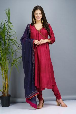 Mahroon and indigo Chanderi cotton silk Kurta set