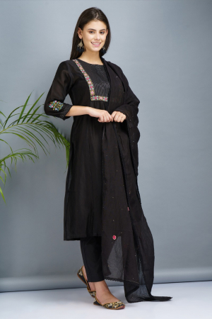 Black Chanderi and cotton silk Kurta set