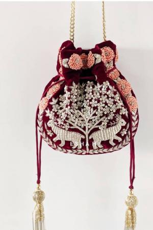 Velvet Maroon Potli Bag