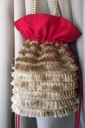 Gold And Red Potli Bag