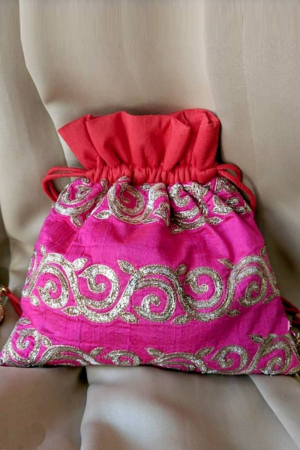 Fuchsia Pink And Red Potli Bag