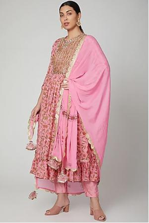 Pink Gather Kurta set