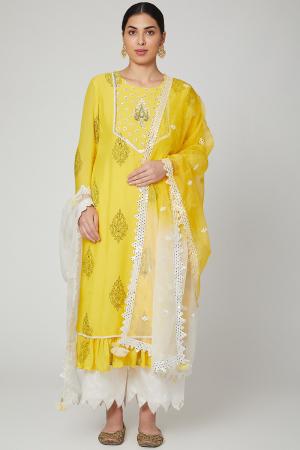 Yellow & Ivory Printed Kurta set
