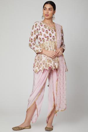 Blush Pink Block Printed Dhoti Set