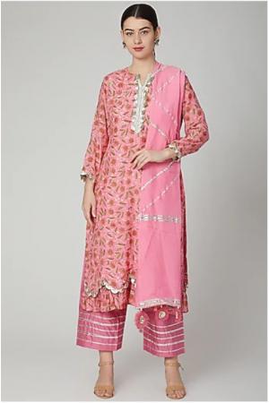 Pink Block printed Scallop kurta set