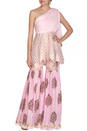 Pink one shoulder sharara set with attached dupatta