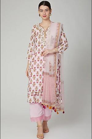 Blush pink frill kurta set