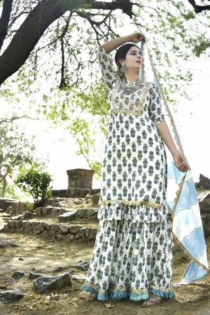 Ivory & Blue long kurta & sharara set
