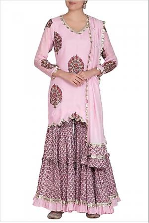 Pink block printed kurti and tiered sharara set