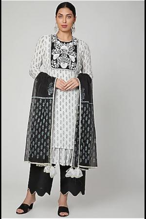 White & Black Block Printed Kurta Set