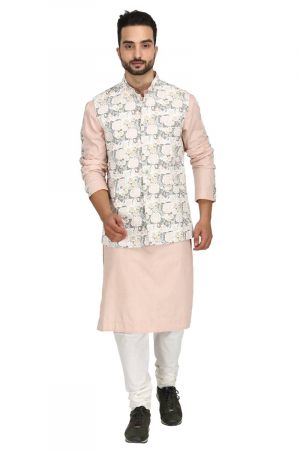Floral bundi with dusty rose kurta set