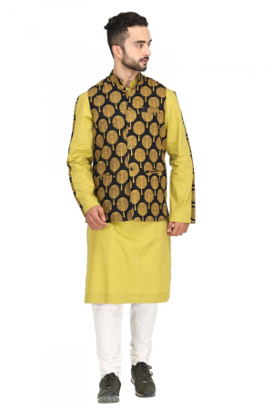 Mughal tree print bundi with mustard kurta set