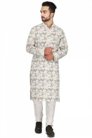 Forest floral off white kurta set