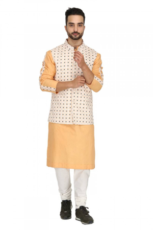 Geometric print bundi with peach kurta set