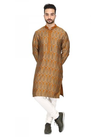Mustard pine tree print kurta set in chanderi