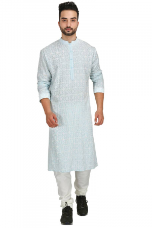 Blue & white chikan kurta set