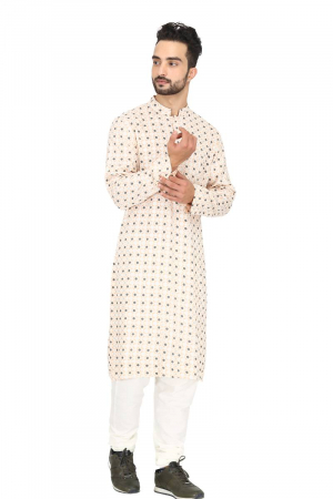 Geometric print peach & off white kurta set