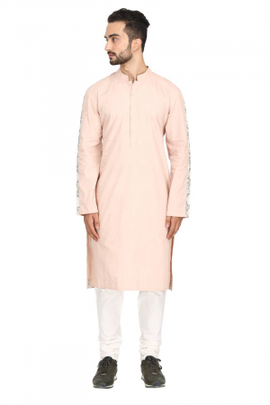 Dusty rose stripe sleeve kurta