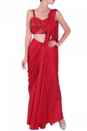Pre draped saree