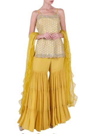 Yellow sharara set