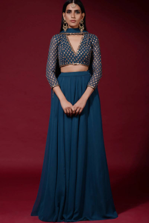 Blue Embroidered Gharara Set