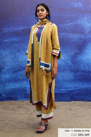mustard yellow handwoven handspun cotton Back Open Mid Calf Length Kurta set