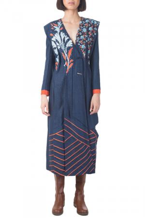 Blue panneled coat dress