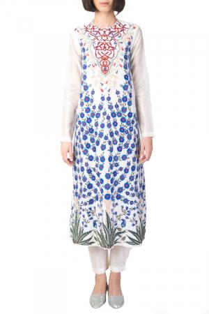 Ivory /blue chanderi kurta set