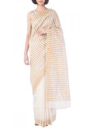 Ivory/gold handwoven silk sari