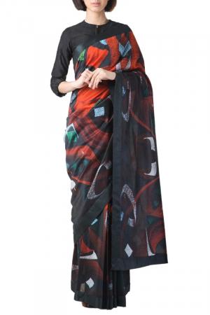 Red/black chanderi printed sari