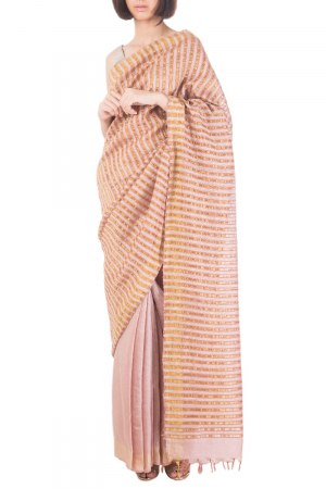 Pastel rose handwoven  silk sari