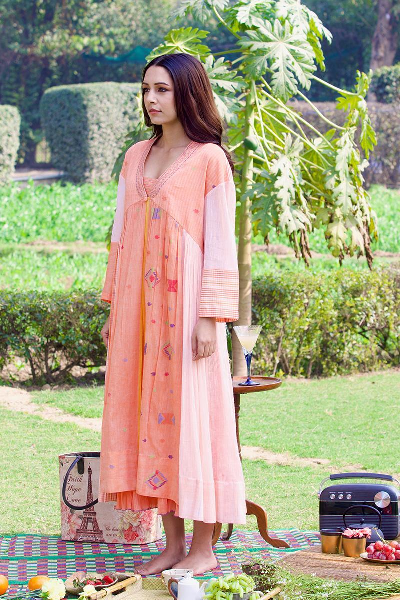 peach cape dress