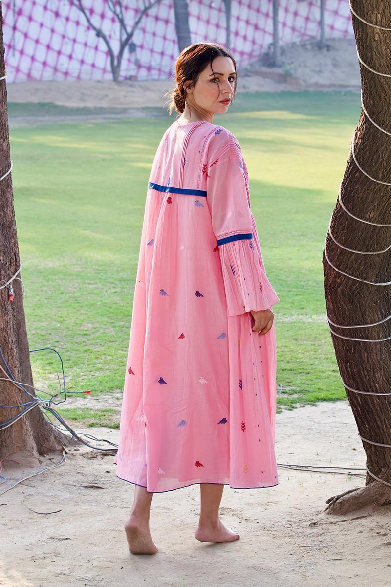 pink lace yolk dress