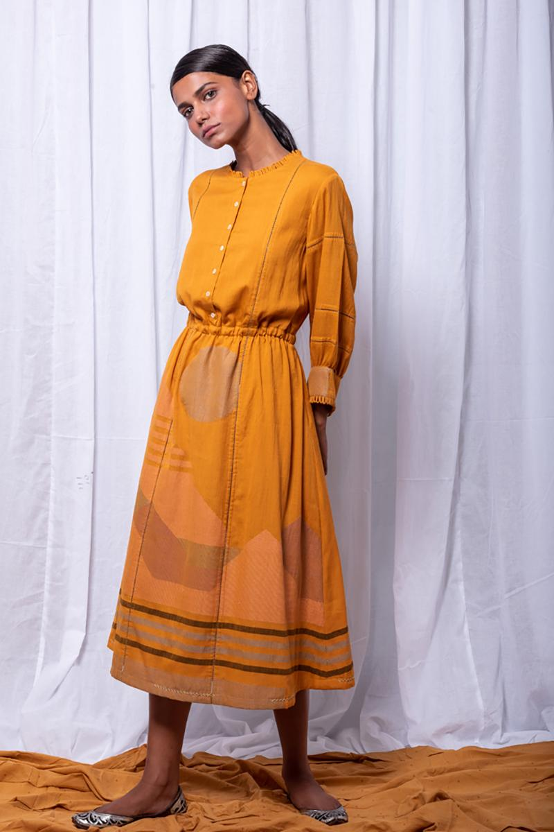 Mustard Elastic Waist Dress
