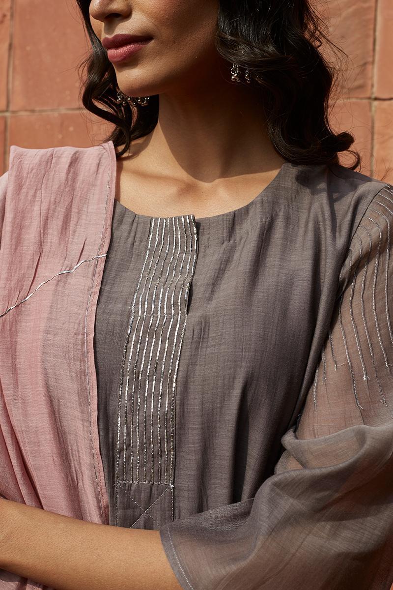 Slate and Blush Embroidered Kurta Set
