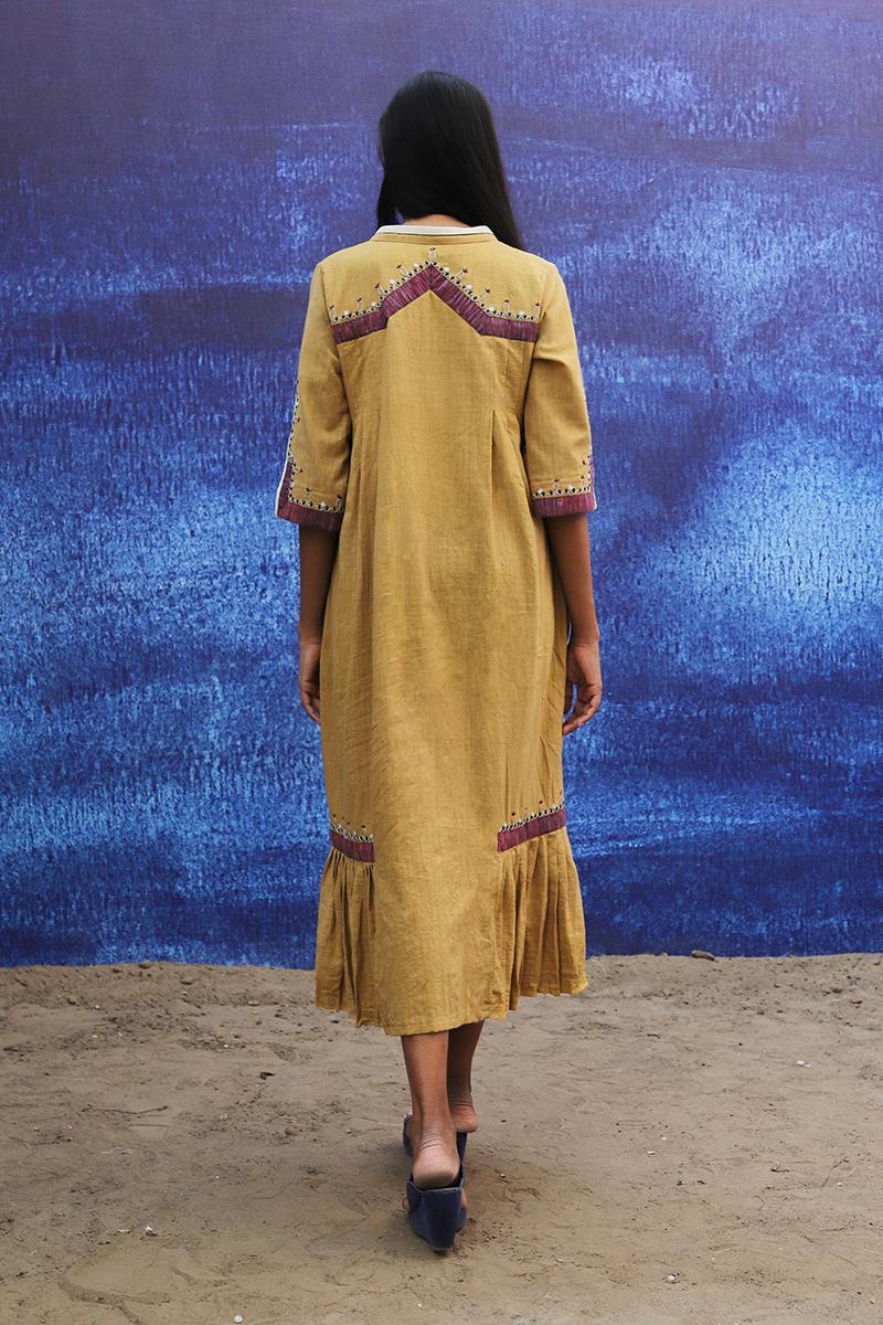 mustard yellow handwoven handspun cotton Mid Calf Length Dress