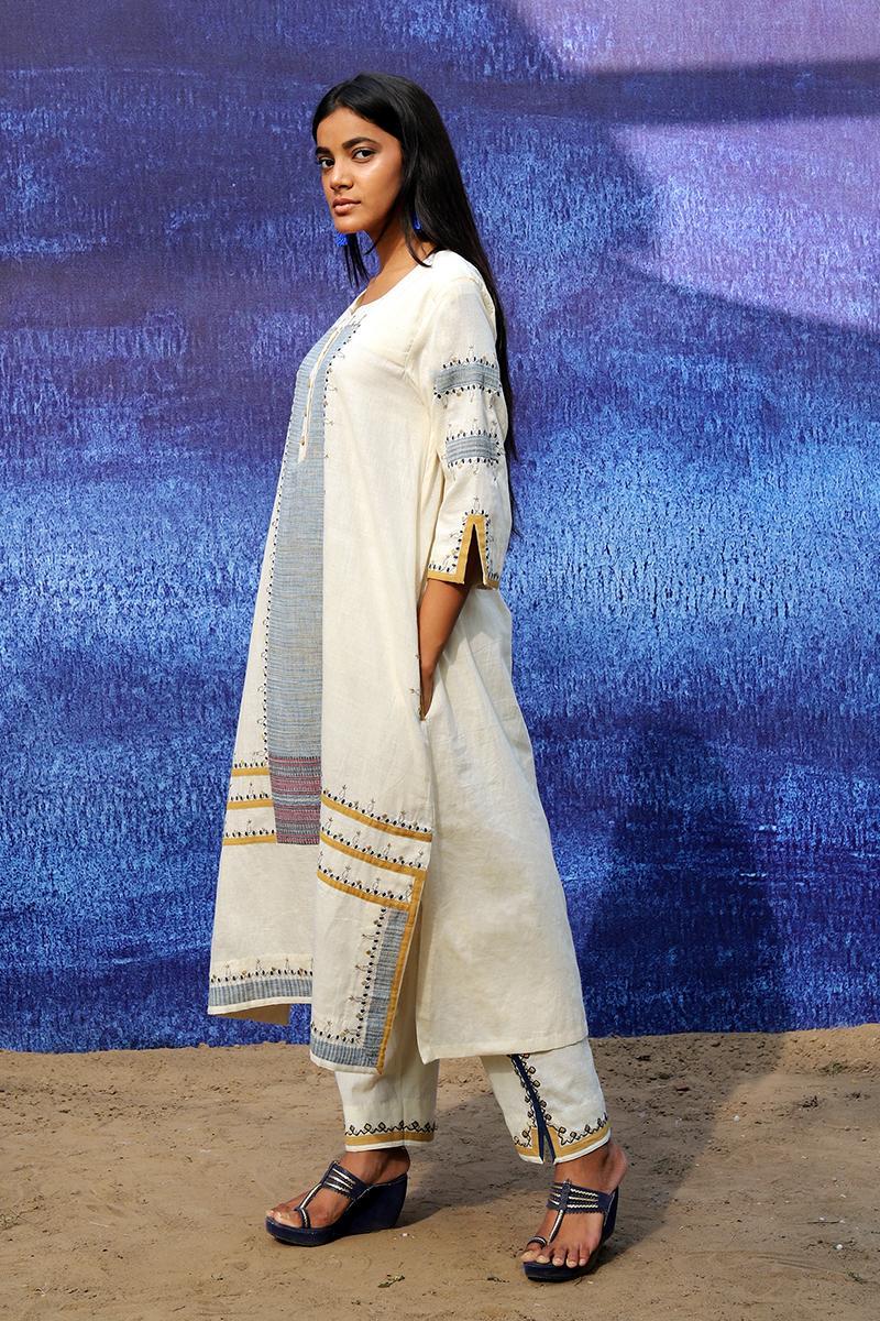 off white handwoven handspun cotton Front Open Mid Calf Length Kurta set