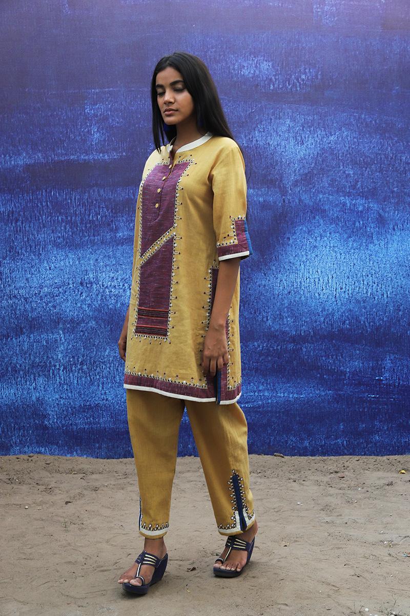 mustard yellow handwoven handspun cotton Tunic with Pants