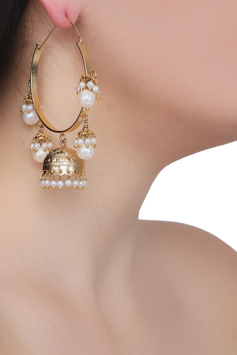 Hoop, jhumki white pearls earrings