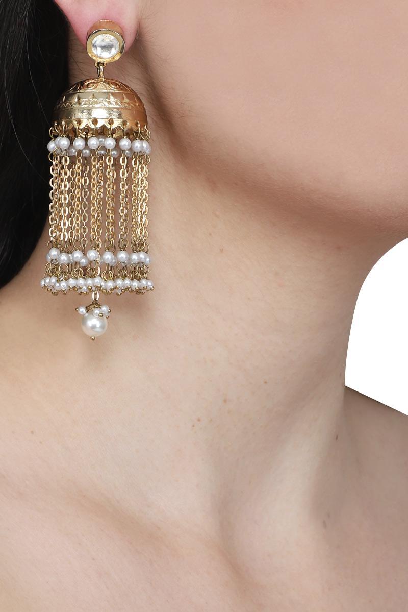 Polki+golden jhumki earring