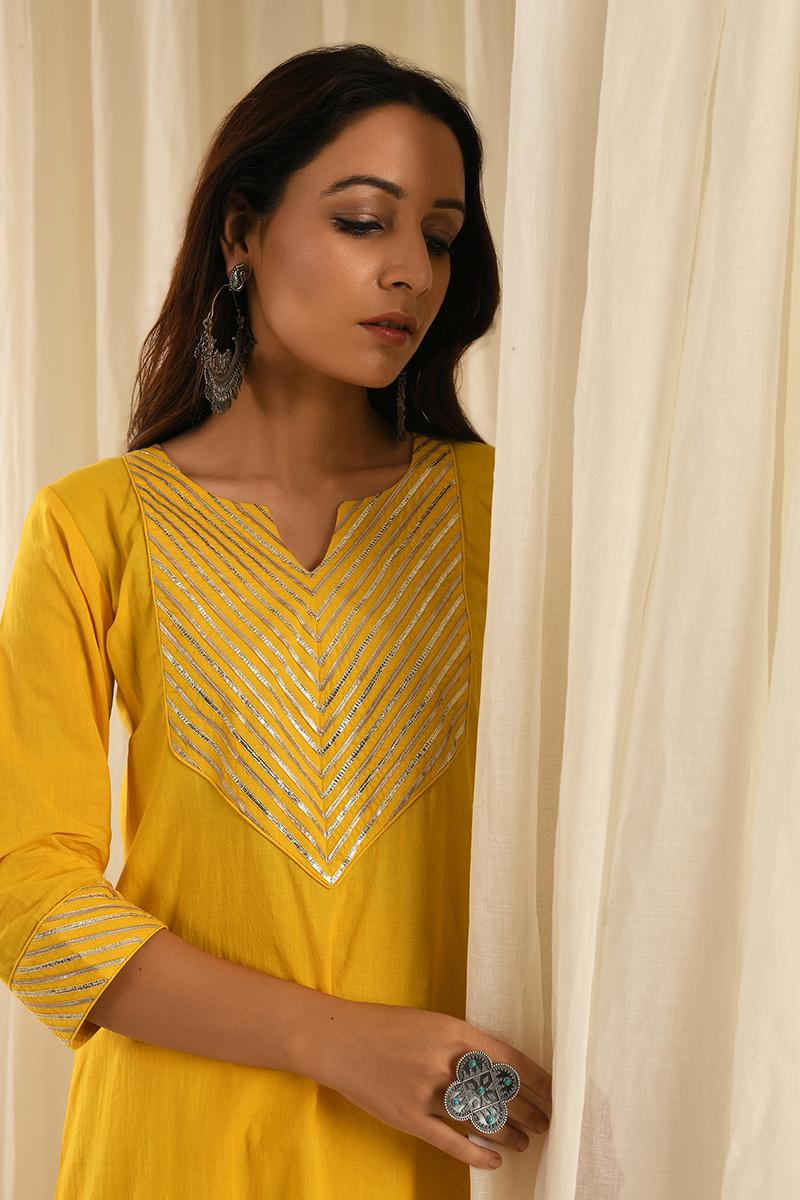 Yellow gota kurta set