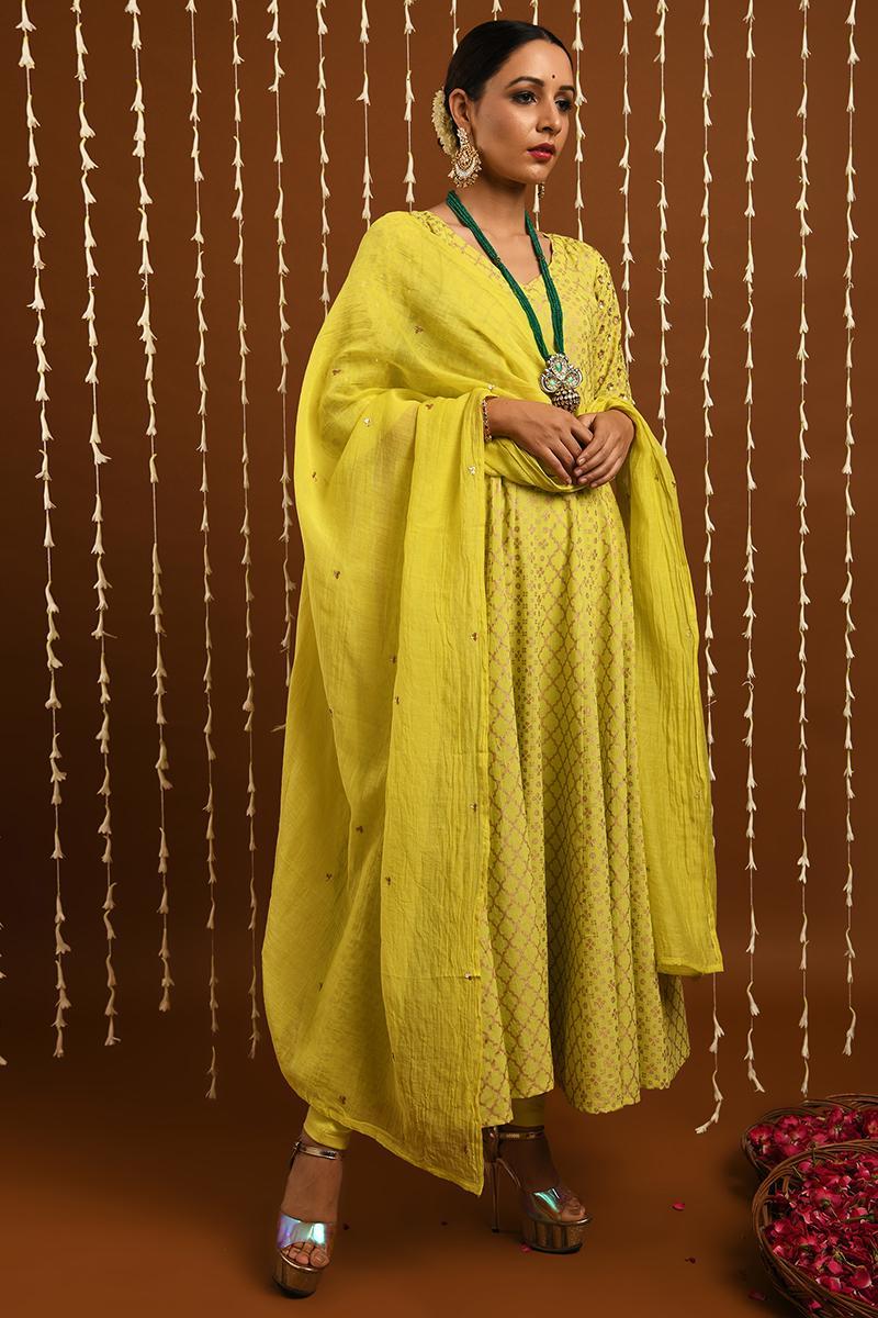 Lime Gold khadi kalidar set