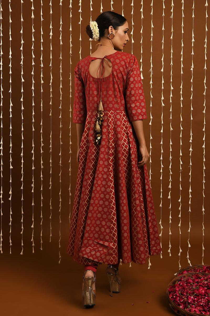 Red Gold khadi kalidar set