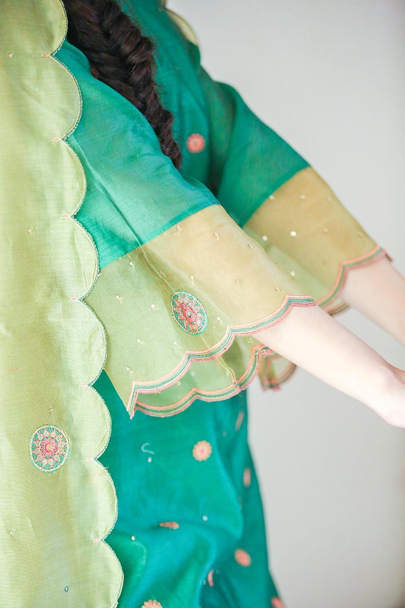 Green chanderi embroideredscalloped dupatta kurta set