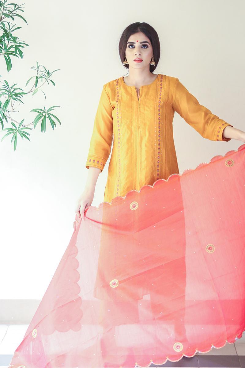 Yellow chanderi embroideredscalloped dupatta kurta set