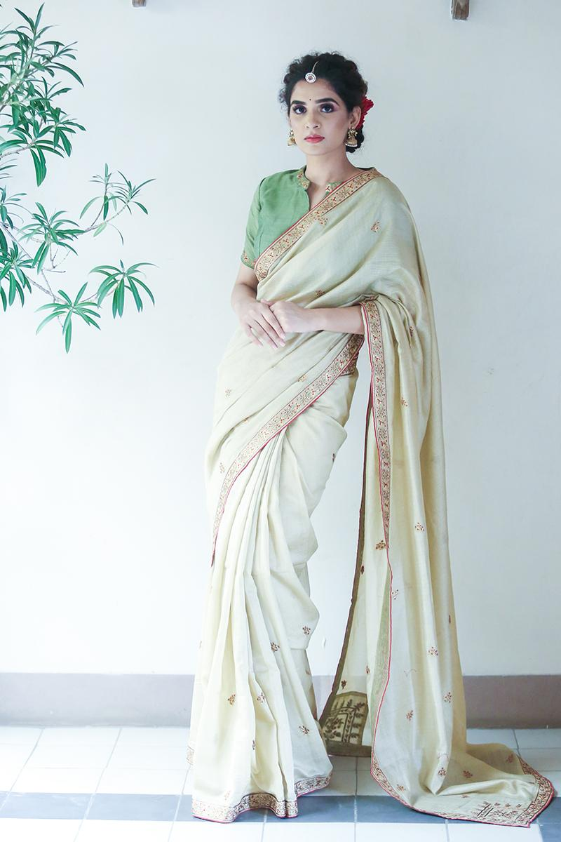 Beige chanderi embroidered saree