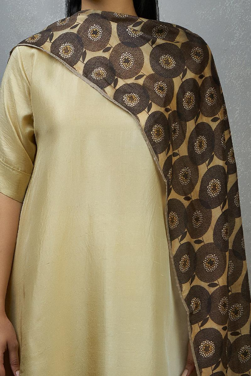 Ivory Ombre hued Asymmetric Dress kurta with silk printed stole