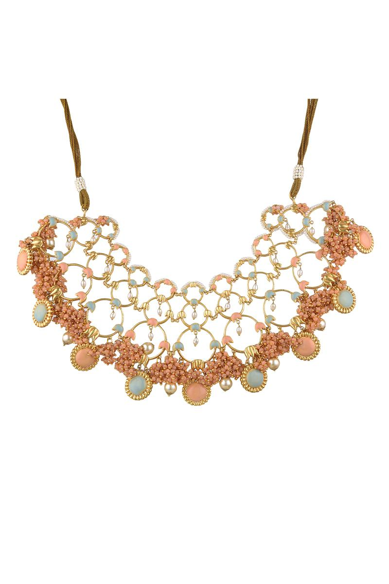 Gold Finish Pearl Floral Necklace