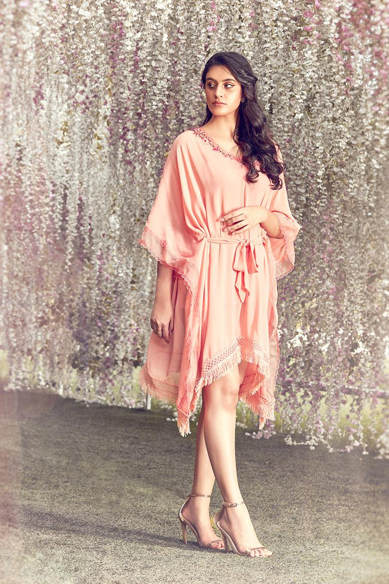 Coral embroidered kaftan