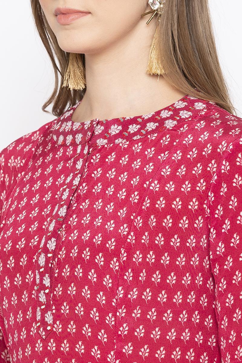 Embroidered placket kurta set